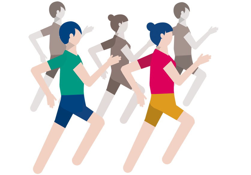 icon of runners in t-shirt and short