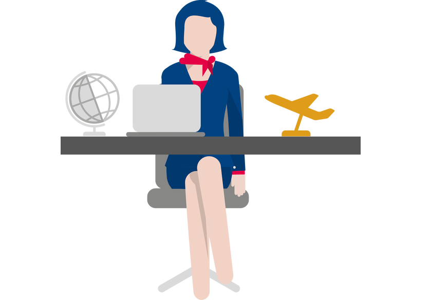 icon of woman looking like a travel agent in front of computer