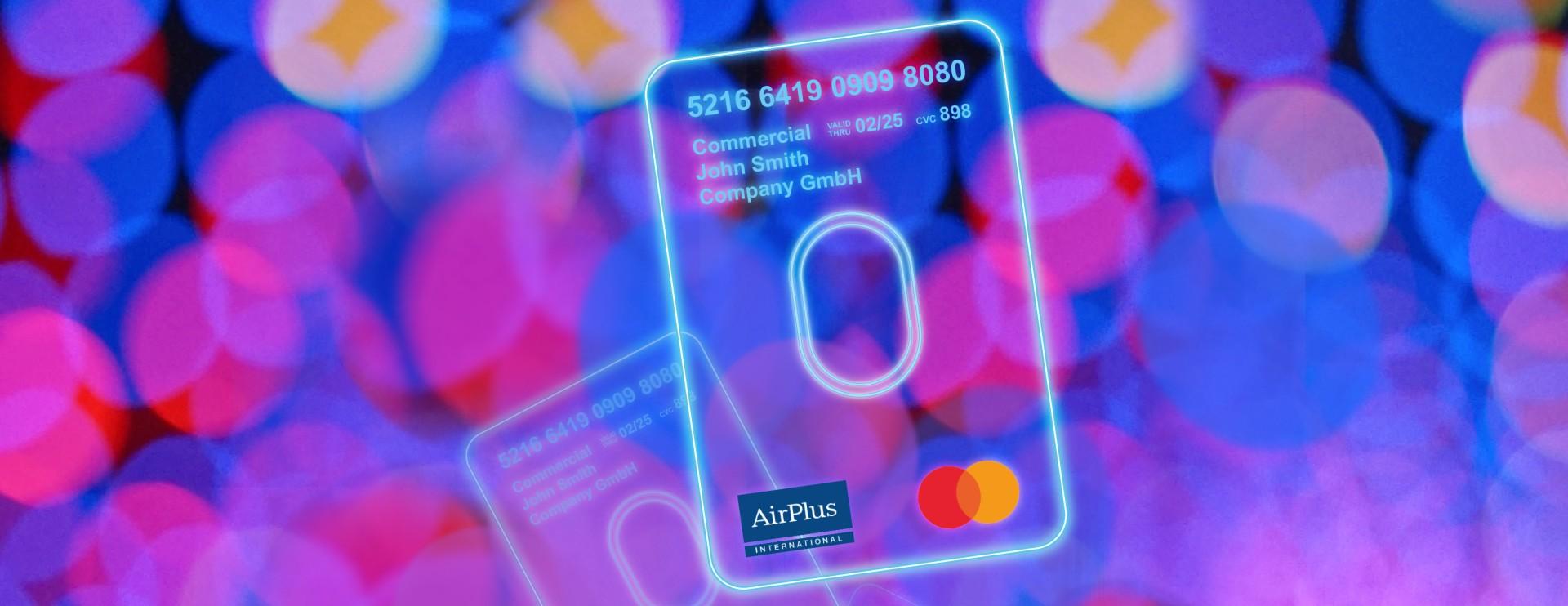 Les cartes virtuelles AirPlus sont une représentation abstraite devant un arrière-plan coloré pour démontrer la facilité de paiement dans tout endroit acceptant la carte MasterCard®.