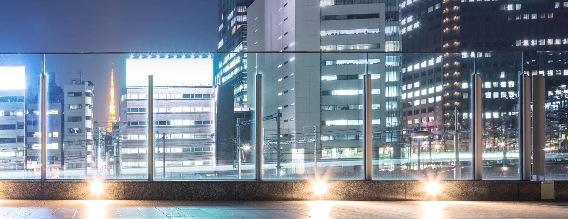 city balustrade at night