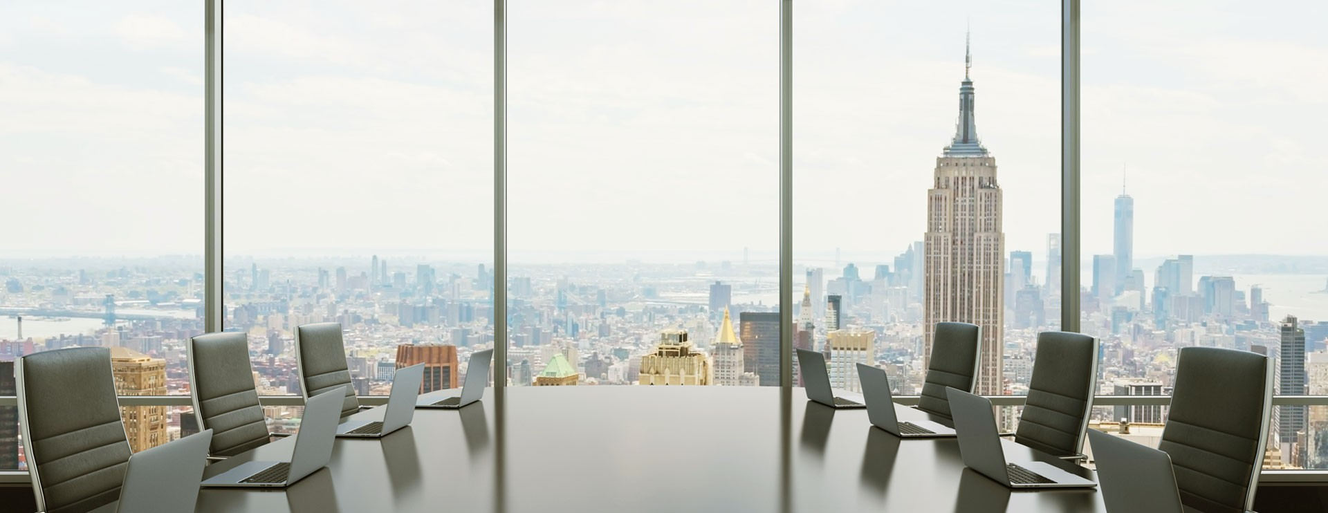 A meeting room with city view