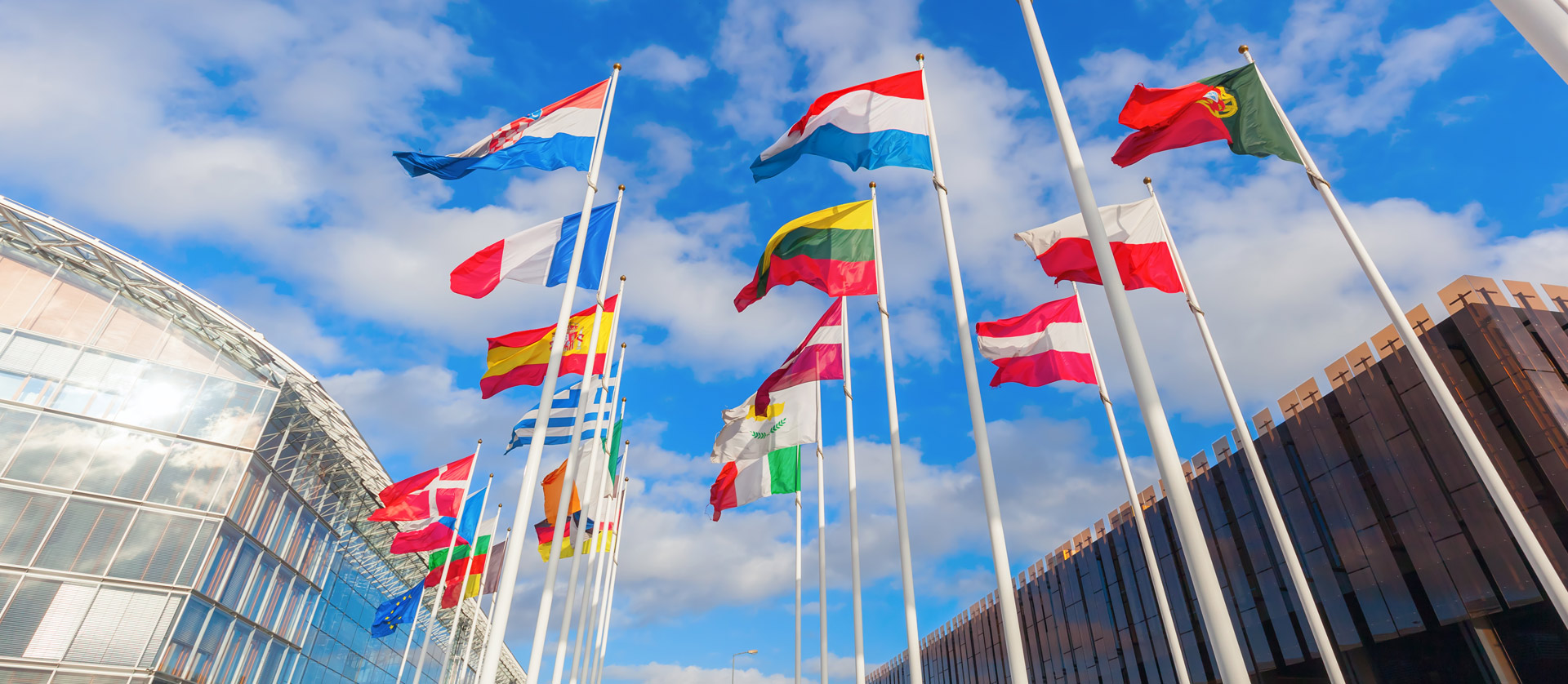 flags of different European countries waving in the wind