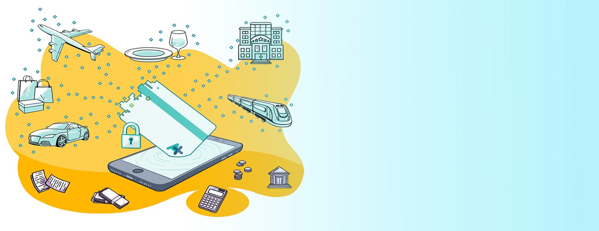 Carta di credito che si dissolve su un cellulare trasformandosi in icone rappresentanti servizi acquistabili come aerei, treni, autovetture, ristoranti